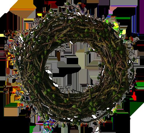 Afbeelding van een decoratiekrans gemaakt van vijgentakken door Antérieur Authentique