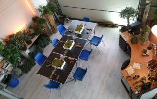 Workshop Groendecoratie van Antérieur Authentique op locatie in een industriele setting.